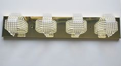 Vtg Mid-Century Modern Lucite Acrylic Stacked Ribbons Brass Bar 4 Light Fixture