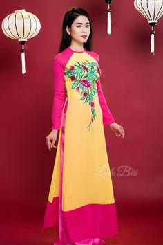 Kiểu dáng: Áo dài truyền thống ||Màu sắc: Vàng-Hồng ||Chất liệu: Lụa cao cấp