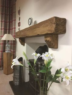 New No Cost mantle Fireplace Mantels Thoughts rustic oak beam floating x mante with oak corbel brackets included Floating Fireplace Mantel, Wood Burner Fireplace, Cosy Fireplace, Inglenook Fireplace, Cottage Fireplace, Rustic Fireplaces, Living Room With Fireplace, Fireplace Surrounds, Oak Mantle