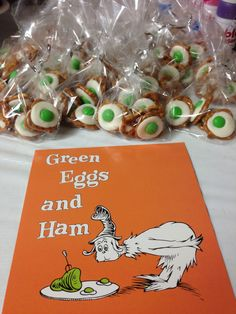 Green eggs and ham favors from Dr Seuss party. Mini pretzels with melted white chocolate pieces and green candy coated chocolate pressed in the center. Baby Shower Themes, Baby Boy Shower, Baby Shower Decorations, First Birthday Parties, First Birthdays, Green Eggs And Ham, Student Gifts, Holiday Fun, Party Planning