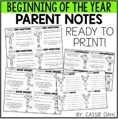 Relieve some of the stress from the beginning of the year? These Parent Notes are a quick print so you can prep them before the school year or really fast before your students arrive for the day!