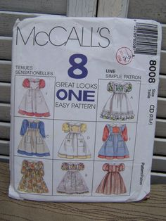 Pattern Vintage Girl Children 8 Choices Dress and Pinafore 1995 McCalls 8008 Sewing Notion - pinned by pin4etsy.com