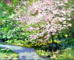 Artist: Ron Lace,  Cherry Blossom Time, acrylic on canvas, 30inx24in, Town Hall, On Exhibit June-September 2014