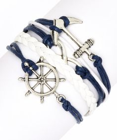Nautical Navy & Silver tone Guided Wheel Braided Bracelet is perfectly coastal!