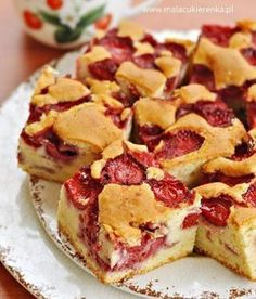Dessert recipes - Puszyste ciasto z truskawkami Polish Desserts, Polish Recipes, Polish Food, Sweet Recipes, Cake Recipes, Dessert Recipes, Delicious Desserts, Yummy Food, Different Cakes