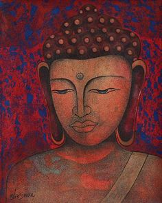 """""""We awaken in others the same attitude of mind we hold in them.""""  ~ Elbert Hubbard  'Buddha - Peace Be on Earth' - Expressionist Painting of Buddha in Red from India  ॐ lis"""