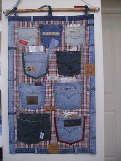 Wonderful DIY Hanging Jeans Pocket Organizer   WonderfulDIY.com