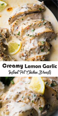 Instant Pot Creamy Lemon Garlic Chicken is a quick and easy dinner made with seasoned chicken breasts cooked in a delicious creamy lemon garlic sauce. Garlic Chicken Pasta, Garlic Chicken Recipes, Healthy Chicken Recipes, Cooking Recipes, Lemon Chicken, Chicken Breast Instant Pot Recipes, Instant Pot Dinner Recipes, Think Food, Comfort Food