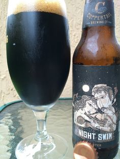 Night Swim Porter • Really dark brown color with a huge fluffy head. Chocolate and milky creamy sweet aroma. Creamy and rich body to start as well. Huge roasted malt, and builds to a strong char and slight campfire flavor. But never overly harsh or bitter. There is a sweet milky flavor and a touch of nutty character. Pretty simple but great texture and nice flavors. Brewery is batting 1000!