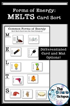 Identify the type of energy produced by 24 different items and sort into categories using the acronym MELTS (mechanical, electrical, light, thermal, and sound).  Perfect for groups with visual learners and students with various reading levels. Originally created for Ontario's SNC1L and SNC2L classes, this resource is designed for older students who are new to the topic or need a review.  Includes differentiated card and mat options. Ontario Curriculum, 4th Grade Science, School Levels, L And Light, Compare And Contrast, Reading Levels, Science Lessons, Graphic Organizers, Special Education