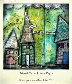mix media journal pg, wonky houses from book pages