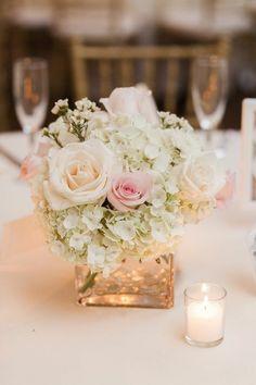 Blumengestecke für Hochzeit Vase Kerze
