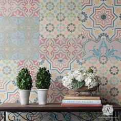Stencil for floor, wall, furniture: Mix and Match Tile Patterns for Allover Wall Art and European Design - Royal Design Studio