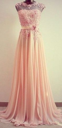 DIYouth.com long pink lace prom dress,Cap-Sleeves Lace Appliques Chiffon Floor-Length Formal Bridesmaid Dress, long cocktail dress, pink evening dresses