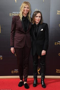 Suits: Ellen Page posed alongside her girlfriend Samantha Thomas...