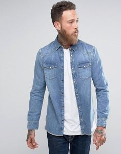 17c269d6c7a04d AllSaints Denim Shirt In Regular Fit
