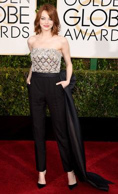 If anyone can pull of a jumpsuit on the red carpet it's Emma, stunning bodice and flattering cut for her. Love, love the hair.