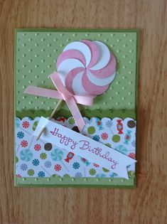 Stampin Up Happy Birthday card - pink lollipop