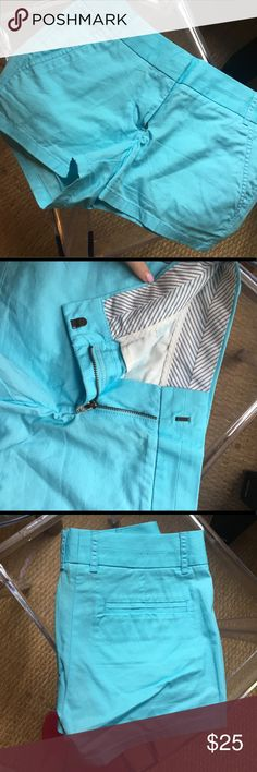 """Turquoise Blue Shorts Turquoise blue J. Crew 3"""" chino shorts. worn once. not as bright as they look in the picture. J. Crew Shorts"""