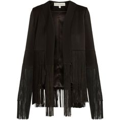 Galvan Cortado fringed jacket ($1,305) ❤ liked on Polyvore featuring outerwear, jackets, black, collarless jacket, fringe jacket and tailored jacket