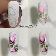 Magnolia Manicure ~ tutorial by Ulyana Mutaf Floral Nail Art, Arte Floral, Easy Nail Art, Cool Nail Art, Pedicure Designs, Nail Art Designs, Nail Art Fleur, 3d Flower Nails, Photo Grid