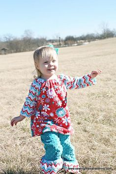 """This free sewing pattern is the """"Cuddle Bouquet Peasant Dress and Pants Pattern"""". So cute!"""