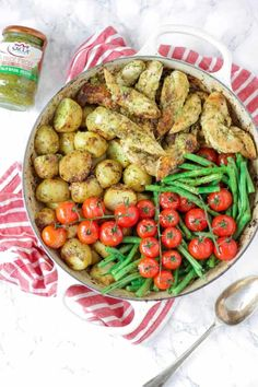This pesto chicken bake is an easy, one pan, oven baked, family dinner. It's also dairy free and gluten free and packed with two portions of colourful vegetables. Baked Pesto Chicken, Baked Chicken Recipes, Dinner Dishes, Pasta Dishes, Dinner Dessert, Main Dishes, Healthy Eating Recipes, Vegetarian Recipes, Meal Recipes