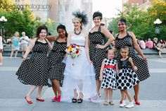 retro polka-dot wedding @Offbeat Bride