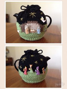 Knitted Novelty Christmas Nativity teapot  cosy. Buttons sourced from www.krazykreations.com.au