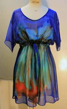 Hand painted silk georgette by Carole Waller