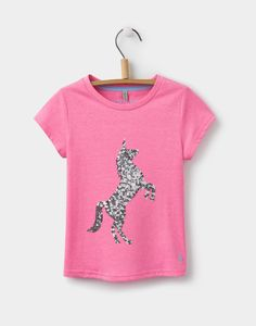 Astra Rose Pink Horse Jersey Top | Joules UK