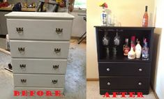 Old dresser converted into a bar Recycled Dresser, Recycled Furniture, Refurbished Furniture, Furniture Makeover, Cool Furniture, Dresser Bar, Armoire Dresser, Vintage Dressers, Old Dressers