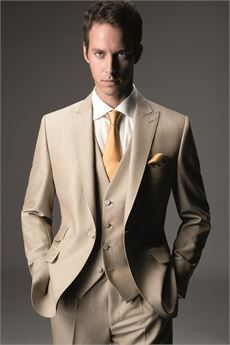 Mens Wedding Suits by K.M. Lowry - Beige Mohair