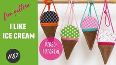 Süßes Eistäschen ganz einfach selber nähen / GRATIS FreeBook / DIY- Näh-Tutorial - YouTube Ice Cream Videos, Diy Ice Cream, Cream Bags, Clothes Hanger, Purses And Bags, Lunch Box, Free, Youtube, Simple