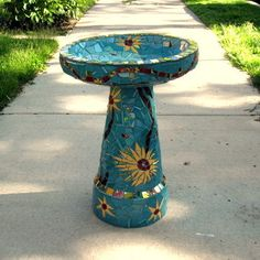Mosaic Bird Bath Sunflowers by MosaicRenaissance on Etsy, $550.00