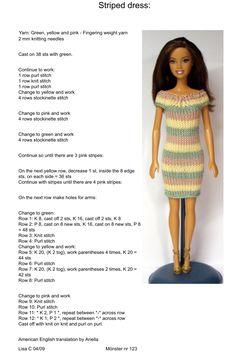 Barbie Clothes Patterns, Crochet Barbie Clothes, Doll Clothes Barbie, Barbie Dress, Barbie Doll, Clothing Patterns, Barbie Knitting Patterns, Knitting Dolls Clothes, Doll Patterns