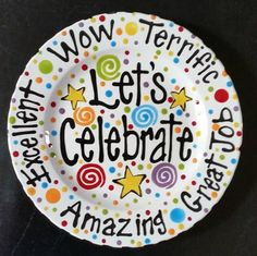 Family Special Day or Birthday Plate Colorful by cutiepatooties1                                                                                                                                                                                 More