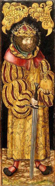 с.997-1038.Святой Иштван, кор. венгерский. Лукас Кранах Старший.После 1510.в его правление (ок.997-1038) языч. полукочевые венгерские племена сформир.независимое госуд-во и приняли христианство.В 1083 Стефан был канонизирован-и это дало возможн.говорить о святородности и богоизбранности правящей династии Арпадов,а позднее и о божеств.защите венг.госуд-ва.