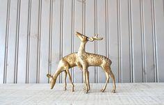 Brass Deer Set // Solid Brass by buffalowinter on Etsy, $34.00