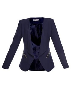 Elevate your look with the Blazer with Zip Trim by Utopia. This sophisticated design is navyin colour, while it showcases relaxed, fold-back lapels. Boasting zip trimmingalong the waist and a tailored fit, it offers long sleeves and a regular lengthhemline. Ideal for the working woman, pair it with a classic shirt, skinnyjeans and heels for a polished ensemble.