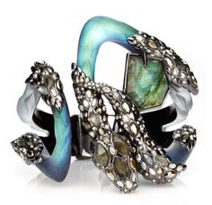 Alexis Bittar Imperial Noir Extra Large Crystal Lace Snake Bracelet