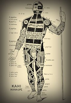 archeatypes of anthropomorphic tribal traditions   Schematic view of a tattooed Marquesan warrior.