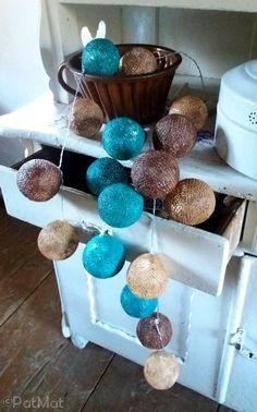 cotton ball light diy mint #diy