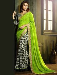 Parrot Green & Black Color Half Georgette & Half Shining Chiffon Casual Party Sarees : Misha Collection YF-27633