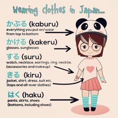 Wearing clothes in Japanese Japanese Verbs, Japanese Phrases, Study Japanese, Japanese Kanji, Japanese Culture, Japanese Grammar, Language Study, Language Lessons, Learn A New Language