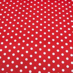 Piros-fehér pöttyös, 100% pamutvászon