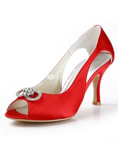 Red Satin Rhinestone Cut Out Peep Toe Wedding Shoes. See More Bridal Shoes at http://www.ourgreatshop.com/Bridal-Shoes-C919.aspx