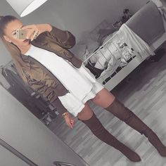 Green bomber jacket, double white t shirt dress and thigh high brown boots pinterest @trulynessa89 ☆