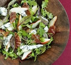 Pear and pancetta salad