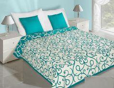 Kremowe dwustronne narzuty na łóżko z turkusowym ornamentem